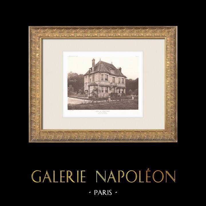Gravures Anciennes & Dessins | Villa au lieu-dit Franc-Port près de Compiègne - Oise (Louis Sorel, architecte) | Héliogravure | 1911