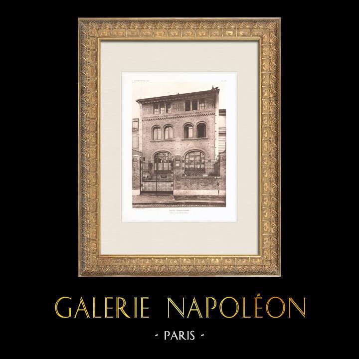 Antique Prints & Drawings   Hôtel particulier - House in Paris 16th Arrondissement (M. Auburtin)   Heliogravure   1911