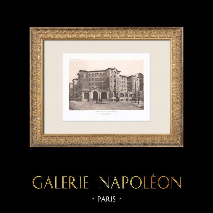 Gravures Anciennes & Dessins | Hôtel pour hommes célibataires - Palais de la Femme - Paris (Labussière & Longerey, architectes) | Héliogravure | 1911