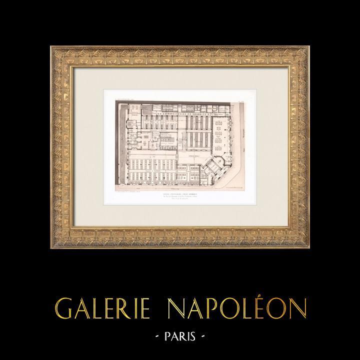 Gravures Anciennes & Dessins   Hôtel pour hommes célibataires - Palais de la Femme - Paris - Plan (Labussière & Longerey)   Héliogravure   1911