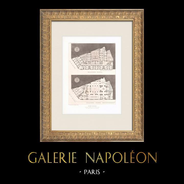 Antique Prints & Drawings | Hôtel Lutetia - Art Nouveau - 6th Arrondissement of Paris - Plan (Boileau & Tauzin) | Heliogravure | 1911