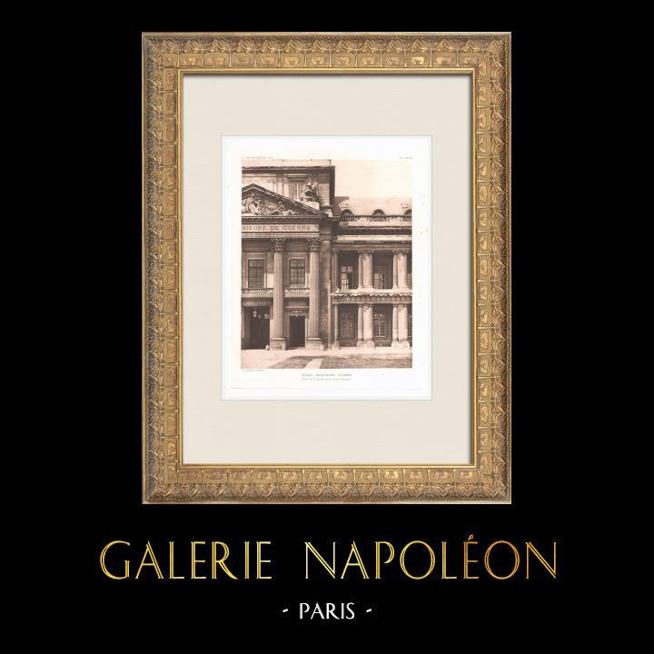 Gravures Anciennes & Dessins | Ecole Militaire - Champ-de-Mars - Façade - Cour d'honneur (Ange-Jacques Gabriel, architecte) | Héliogravure | 1911
