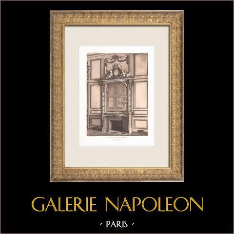 Ecole Militaire - Champ-de-Mars - Cheminée (Ange-Jacques Gabriel, architecte) | Héliogravure originale d'après Ange-Jacques Gabriel. 1911