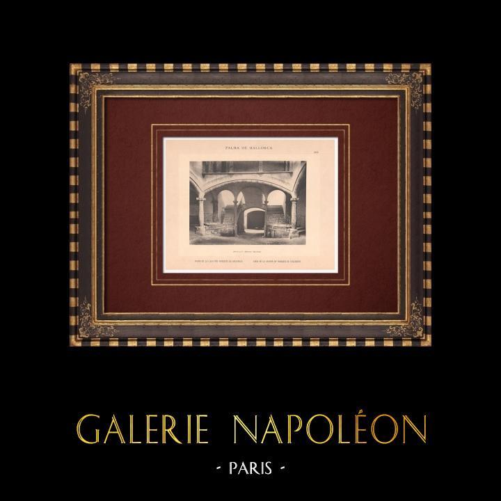 Gravures Anciennes & Dessins | Cour du palais du Marquis de Solleric - Palma de Majorque - Îles Baléares (Espagne) | Phototypie | 1899