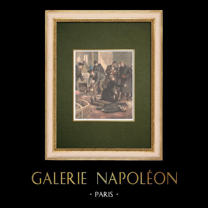 Gravures Anciennes & Dessins   Reconstitution de la mort du député Syveton à Neuilly-sur-Seine - Ile de France - 1905   Gravure sur bois   1905