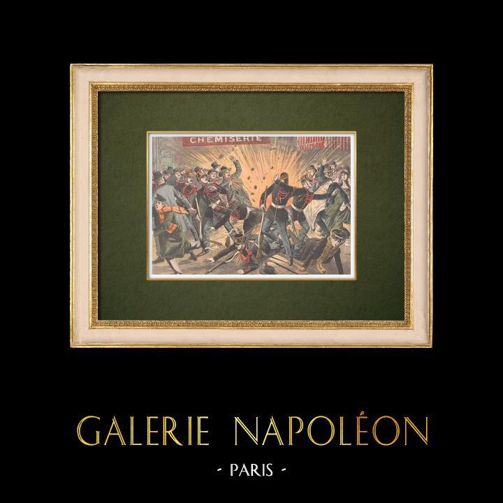 Gravures Anciennes & Dessins | Révolution russe - Explosions de bombes à Paris - 1905 | Gravure sur bois | 1905