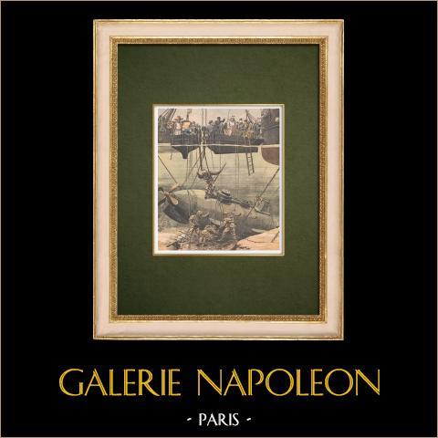 Catastrophe du sous-marin Farfadet - Bizerte - Tunisie - 1905 | Gravure sur bois imprimée en chromotypographie. Anonyme. Texte au verso. 1905