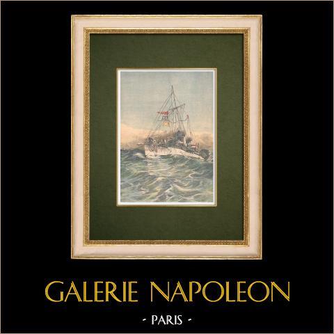 Marine Française - Contre-torpilleur éclaireur - Manoeuvre en Méditerranée - 1905 | Gravure sur bois imprimée en chromotypographie. Anonyme. Texte au verso. 1905