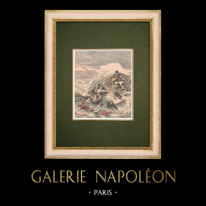 Gravures Anciennes & Dessins | Noyades devant la plage de Boulogne-sur-mer - Pas-de-Calais - France - 1905 | Gravure sur bois | 1905