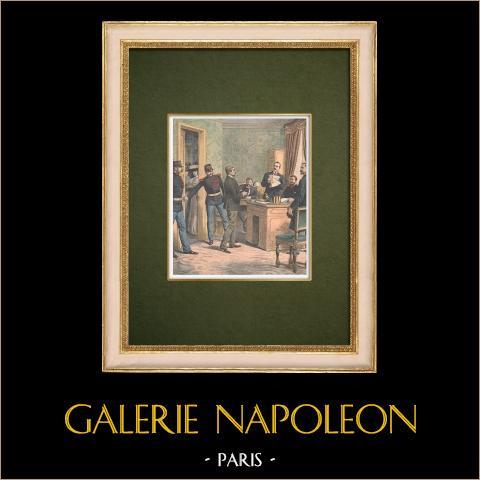 Förhör av de två tjuvarna i Comptoir d'Escompte de Paris - 1905 | Original träsnitt tryckt i kromotypografi. Anonym. Text på baksidan. 1905