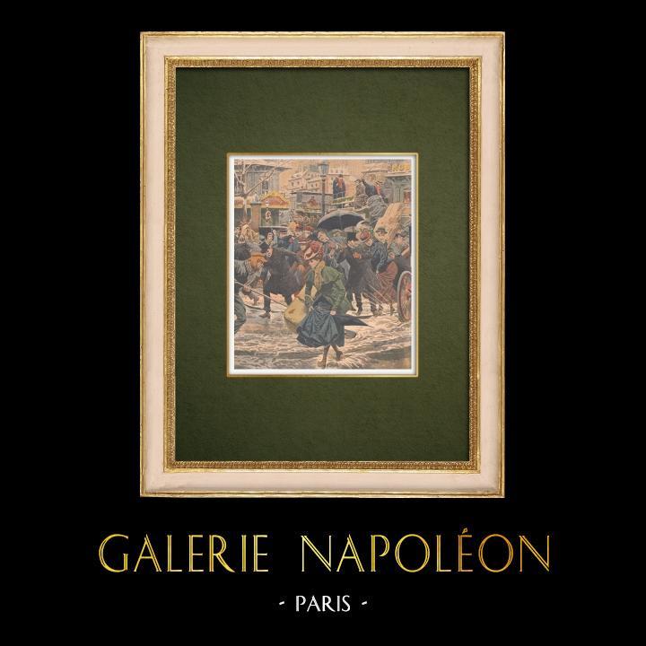Gravures Anciennes & Dessins | L'hiver à Paris sous la neige - 1907 | Gravure sur bois | 1907