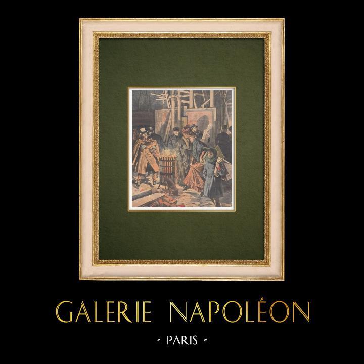 Gravures Anciennes & Dessins | Un brasero dans les rues de Paris - 1907 | Gravure sur bois | 1907