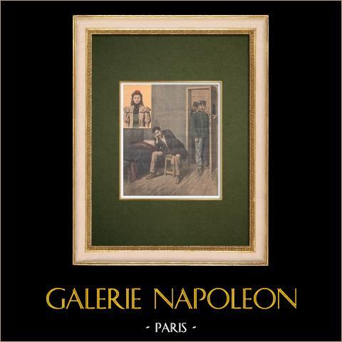 Mord av Marthe Erbelding med Albert Soleilland - Paris - 1907 | Original träsnitt tryckt i kromotypografi. Anonym. Text på baksidan. 1907