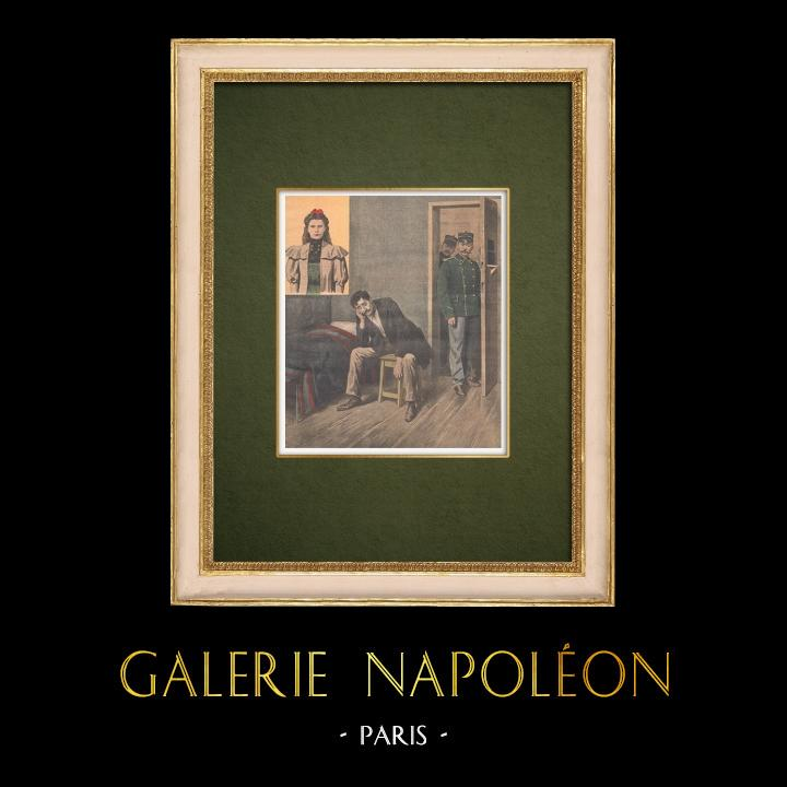 Antique Prints & Drawings | Assassination of Marthe Erbelding by Albert Soleilland - Paris - 1907 | Wood engraving | 1907