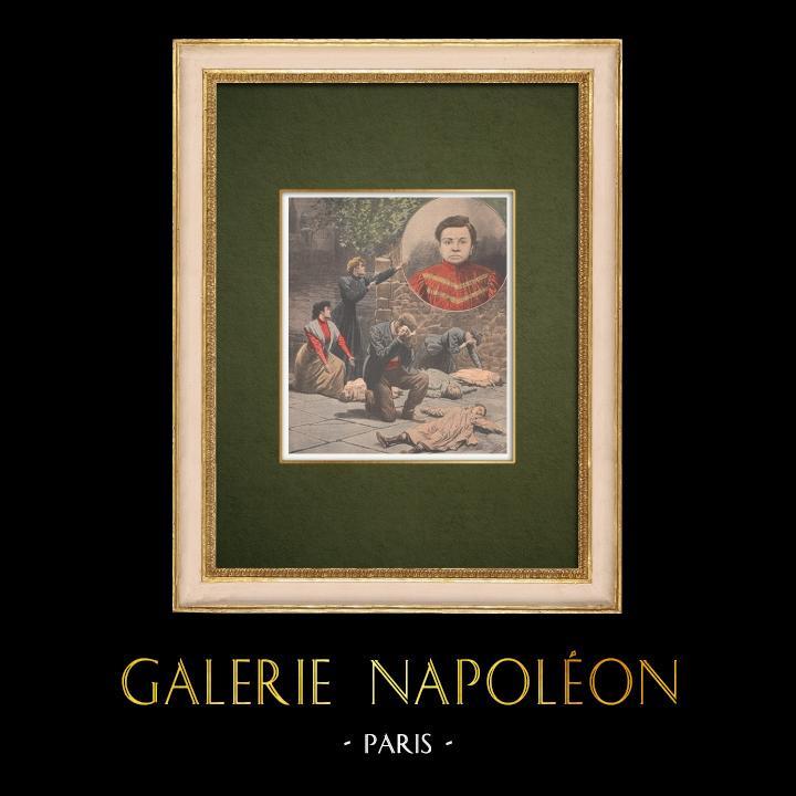 Antique Prints & Drawings | Jeanne Weber, the Ogress of Goutte d'Or - Paris - 1907 | Wood engraving | 1907