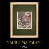 Jeanne Weber, la Ogresa de la Goutte d'Or - Paris - 1907 | Grabado xilográfico original impreso en cromotipografia. Anónimo. Reverso impreso. 1907