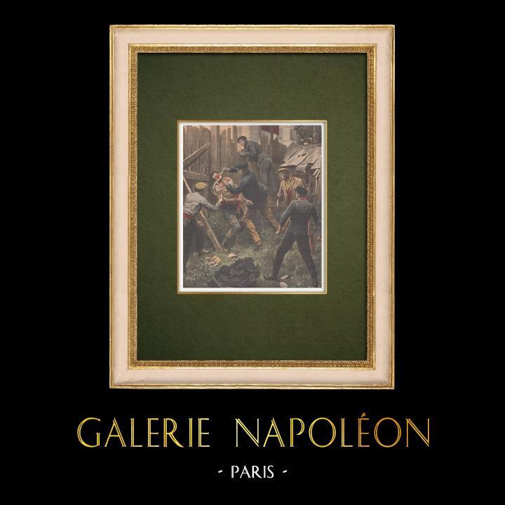 Antique Prints & Drawings   Vengeance between bandits in Paris - 1907   Wood engraving   1907