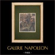 Venganza entre bandidos en París - 1907 | Grabado xilográfico original impreso en cromotipografia. Anónimo. Reverso impreso. 1907
