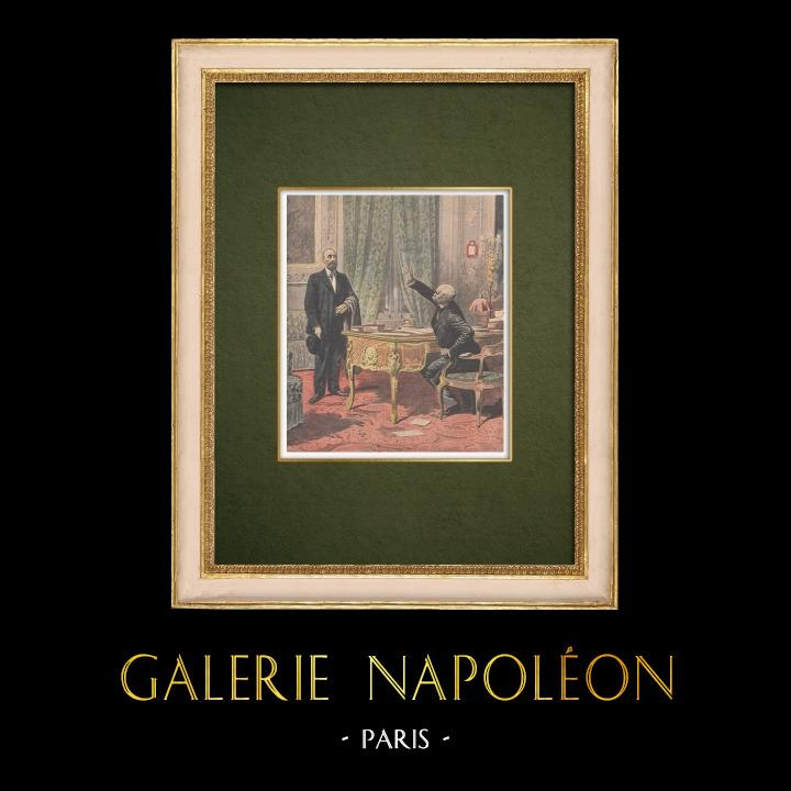 Gravures Anciennes & Dessins   Révolte des vignerons - Marcelin Albert chez Georges Clémenceau - Paris - 1907   Gravure sur bois   1907