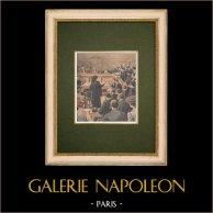 Procès de Soleilland - Cour d'Assises de Paris - 1907 | Gravure sur bois imprimée en chromotypographie. Anonyme. Texte au verso. 1907