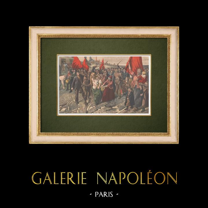 Gravures Anciennes & Dessins | Les Roufions - Lucien Jonas - Peintre français - Grève des mineurs - Salon 1907 | Gravure sur bois | 1907