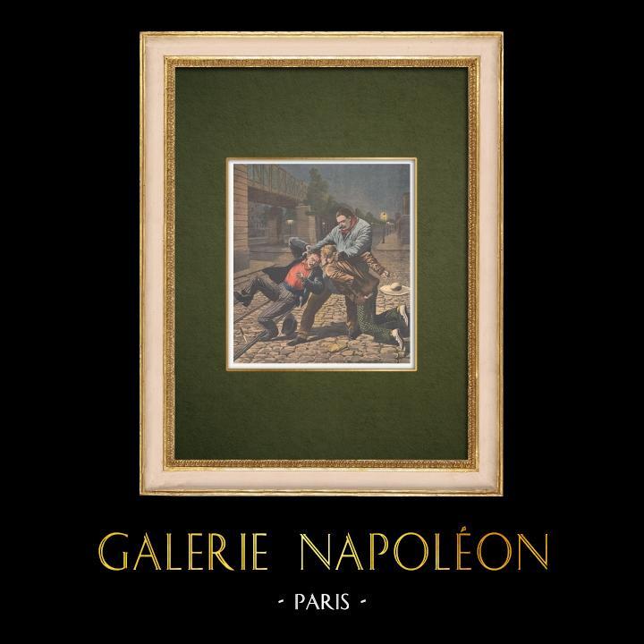 Stampe Antiche & Disegni | Due furfanti puniti da un Fort des Halles - Parigi - 1907 | Incisione xilografica | 1907