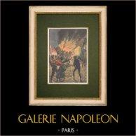 Incendi nel Francia meridionale - Siccità estiva - 1907 | Incisione xilografica originale stampata in cromotipografia. Anonima. Retro stampato. 1907