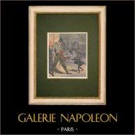 I teppisti a Parigi - 1907 | Incisione xilografica originale stampata in cromotipografia. Anonima. Retro stampato. 1907