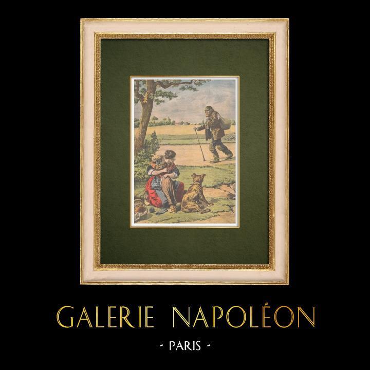 Stampe Antiche & Disegni | I vagabondi nelle campagne della Francia - 1907 | Incisione xilografica | 1907