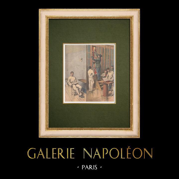 Gravures Anciennes & Dessins | Scène de la vie quotidienne à la prison de Fresnes - Paris - 1907 | Gravure sur bois | 1907