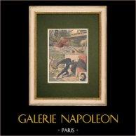 Enfants héroïques - Sauvetage - Noyade - Corrèze - 1907 | Gravure sur bois imprimée en chromotypographie. Anonyme. Texte au verso. 1907