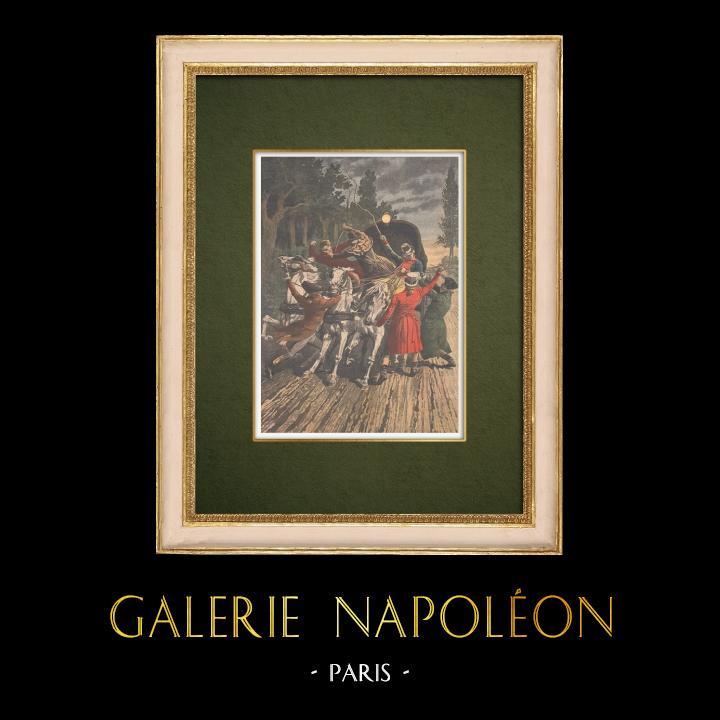 Grabados & Dibujos Antiguos | Los bandoleros atacan la malla postal de París-Lyon en 1796 - Francia | Grabado xilográfico | 1907