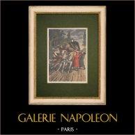 Des brigands de grand chemin attaquent la malle-poste Paris-Lyon en 1796 - France   Gravure sur bois imprimée en chromotypographie. Anonyme. Texte au verso. 1907