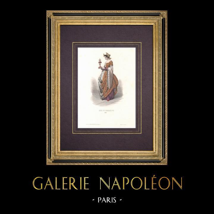 Grabados & Dibujos Antiguos | Traje de la Corte de Carlos VII de Francia - Traje de mujer (1460) | Grabado en talla dulce | 1854