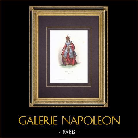 Costume de la Cour de Louis XII de France - Costume de femme (1510) | Gravure originale en taille-douce sur acier dessinée par Compte-Calix, gravée par Portier. Aquarellée à la main. Avec rehauts d'or. 1854