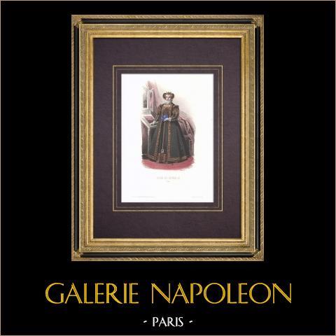 Costume de la Cour de Henri II de France - Costume de femme (1550) | Gravure originale en taille-douce sur acier dessinée par Compte-Calix, gravée par Portier. Aquarellée à la main. Avec rehauts d'or. 1854