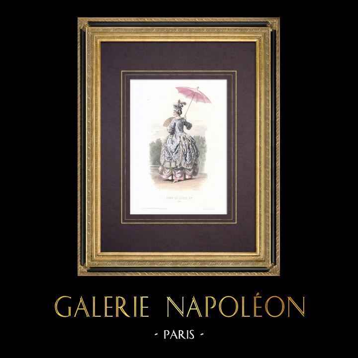 Gravures Anciennes & Dessins | Costume de la Cour de Louis XV de France - Costume de femme (1715) | Taille-douce | 1854
