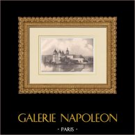 Château de Gripsholm - Mariefred - Södermanland - Sudermanie (Suède) | Lithographie originale lithographiée par Spong & Cardon. 1840