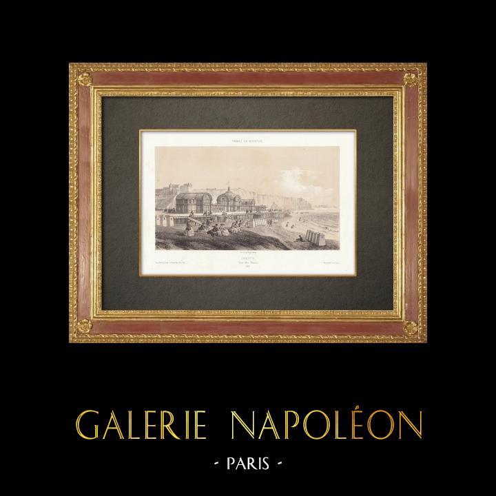 Grabados & Dibujos Antiguos | Los baños de Dieppe - Sena Marítimo - Alta Normandia (Francia) | Litografía | 1860