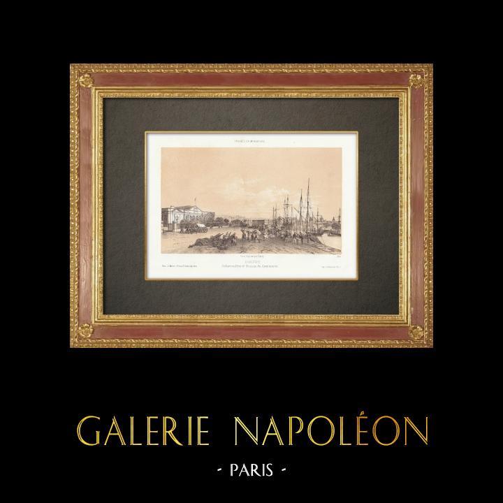 Antique Prints & Drawings | Dieppe - Pier - Seine-Maritime (France) | Lithography | 1860