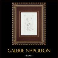 Statua di Giove sentado - Galleria Borghese - Roma | Incisione originale a bulino su rame su carta vergata. Anonima. 1796