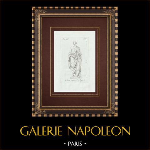 Auguste en toge - Galerie Borghèse - Rome | Gravure sur cuivre originale sur papier vergé. Anonyme. 1796