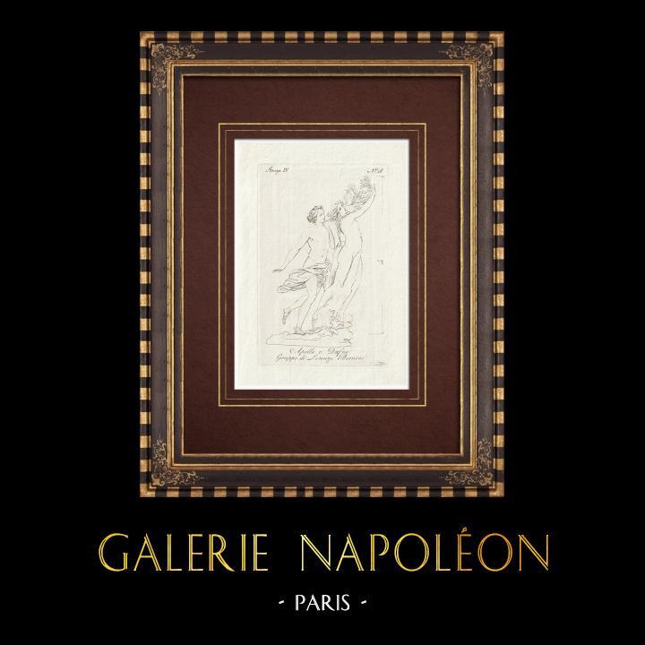 Antique Prints & Drawings | Apollo and Daphne - Gian Lorenzo Bernini - Galleria Borghese - Rome | Copper engraving | 1796