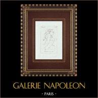 Baccante con vaso - Cratere - Galleria Borghese - Roma | Incisione originale a bulino su rame su carta vergata. Anonima. 1796