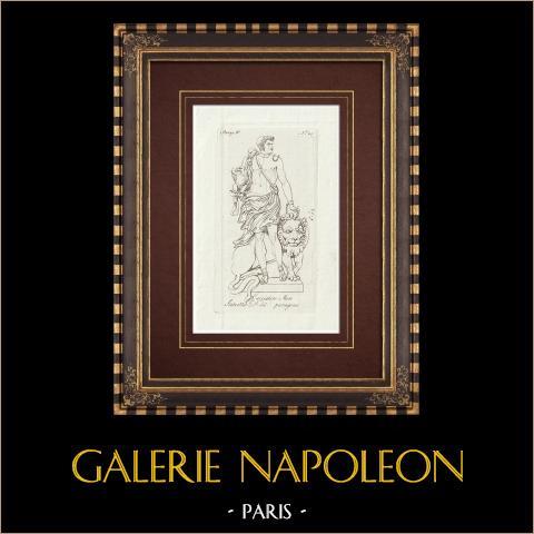 Cazador negro - Paragone - Galería Borghese - Roma | Grabado original en talla dulce sobre cobre sobre papel verjurado. Anónimo. 1796