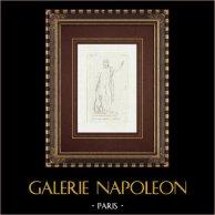Jupiter avec l'aigle et la foudre - Galerie Borghèse - Rome | Gravure sur cuivre originale sur papier vergé. Anonyme. 1796