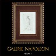 Fauno sonante la Tibia  - Galleria Borghese - Roma | Incisione originale a bulino su rame su carta vergata disegnata da Nocchi, incisa da Giovanni Ottaviani. 1796