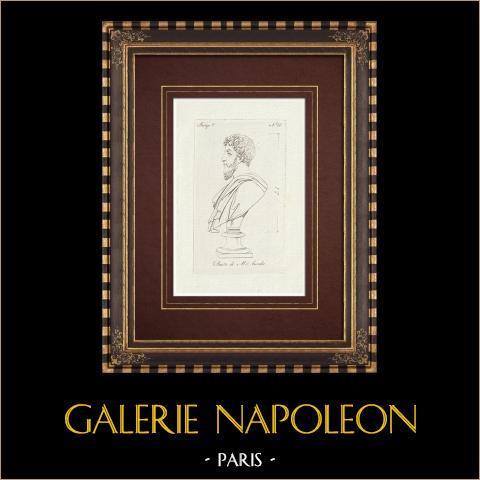 Marc-Aurèle - Empereur romain - Galerie Borghèse - Rome | Gravure sur cuivre originale sur papier vergé. Anonyme. 1796