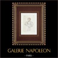 Lucio Vero - Emperador romano - Galería Borghese - Roma | Grabado original en talla dulce sobre cobre sobre papel verjurado. Anónimo. 1796