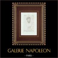 Testa di Lucio Vero - Impero romano - Galleria Borghese - Roma | Incisione originale a bulino su rame su carta vergata. Anonima. 1796